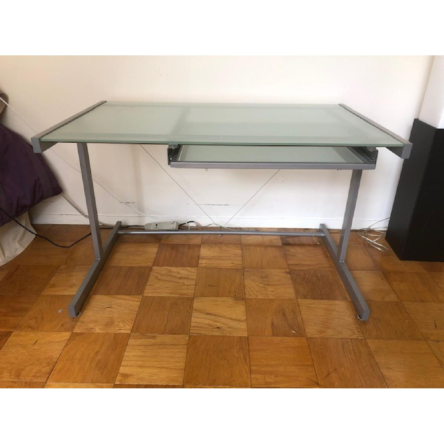 Crate & Barrel Chrome Computer Desk w/ File Cabinet - image-1