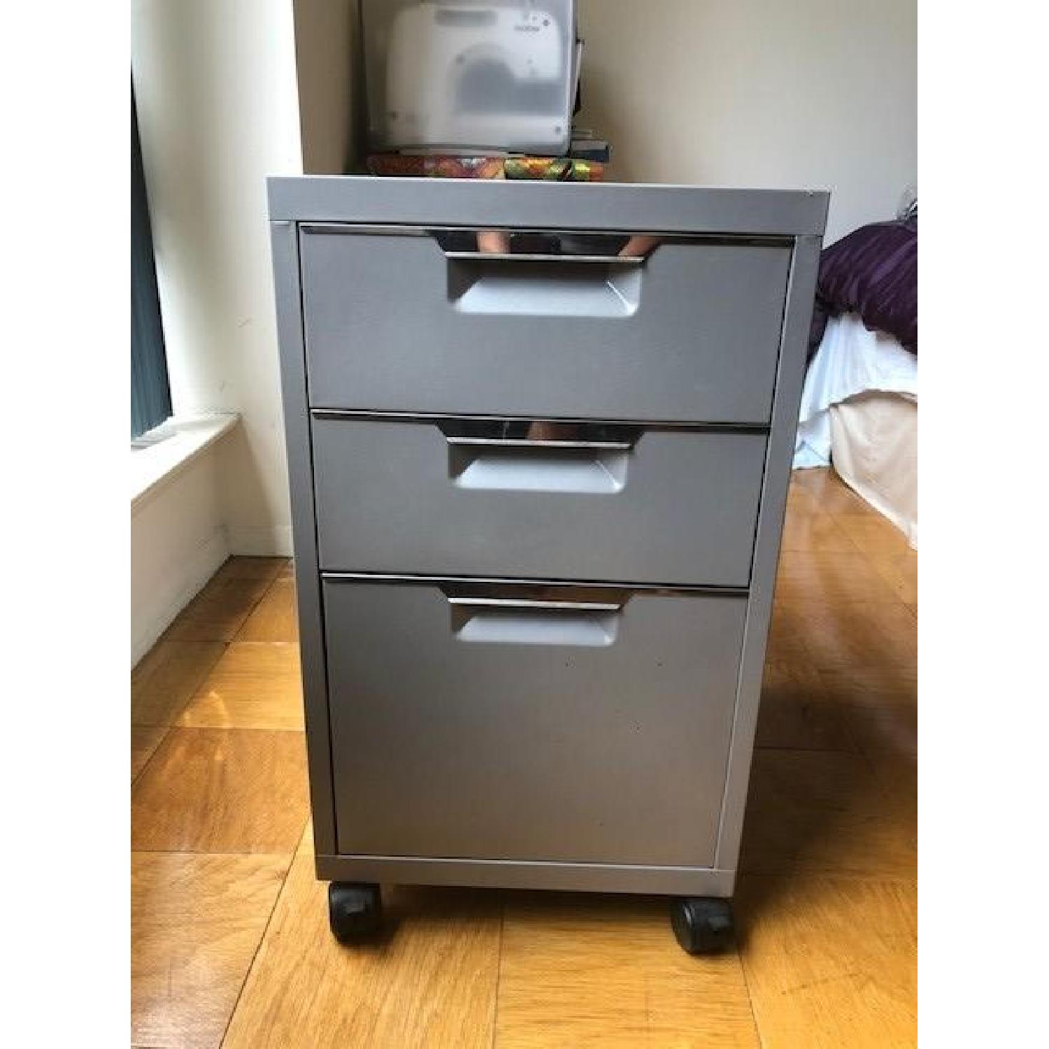 Crate & Barrel Chrome Computer Desk w/ File Cabinet - image-2