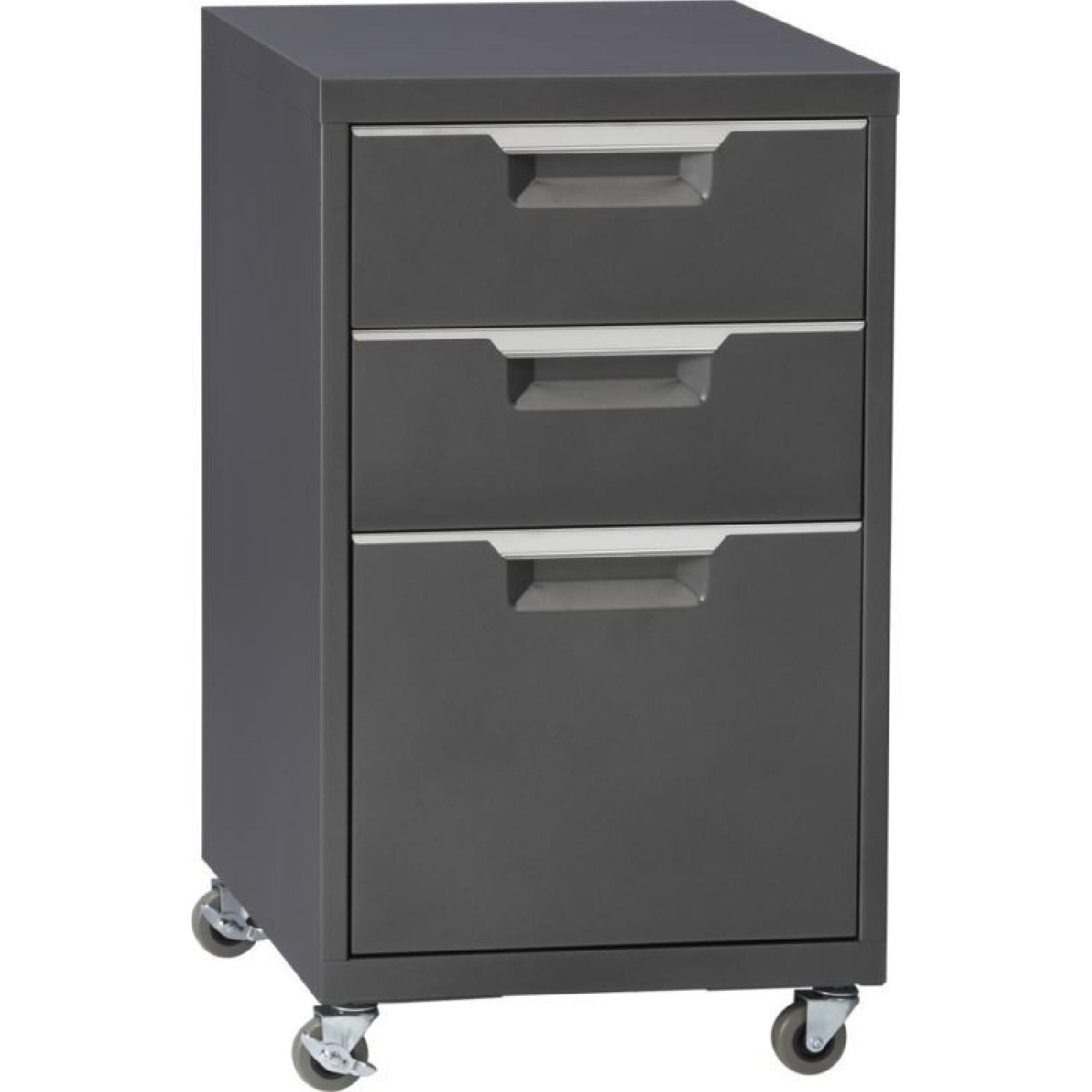 Crate & Barrel Chrome Computer Desk w/ File Cabinet - image-3