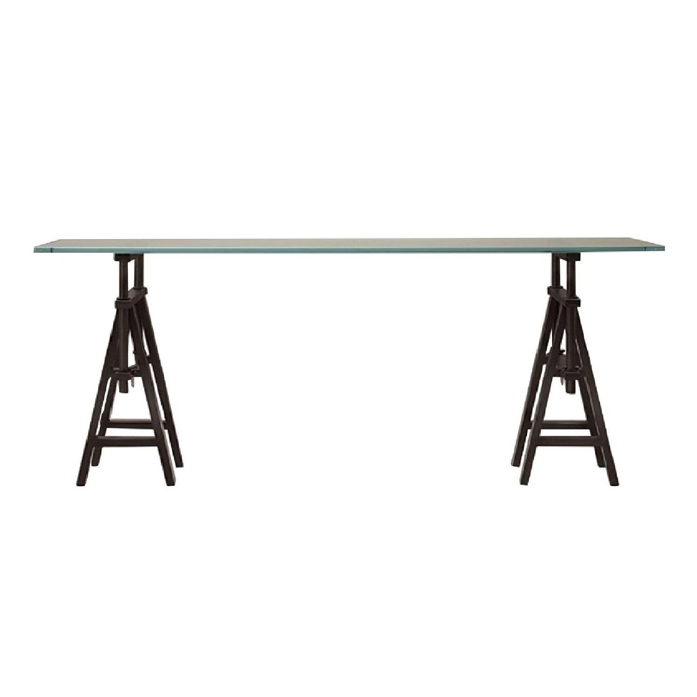 Restoration Hardware Glass Console Table w/ Wood Base - image-0