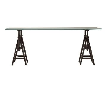Restoration Hardware Glass Console Table w/ Wood Base