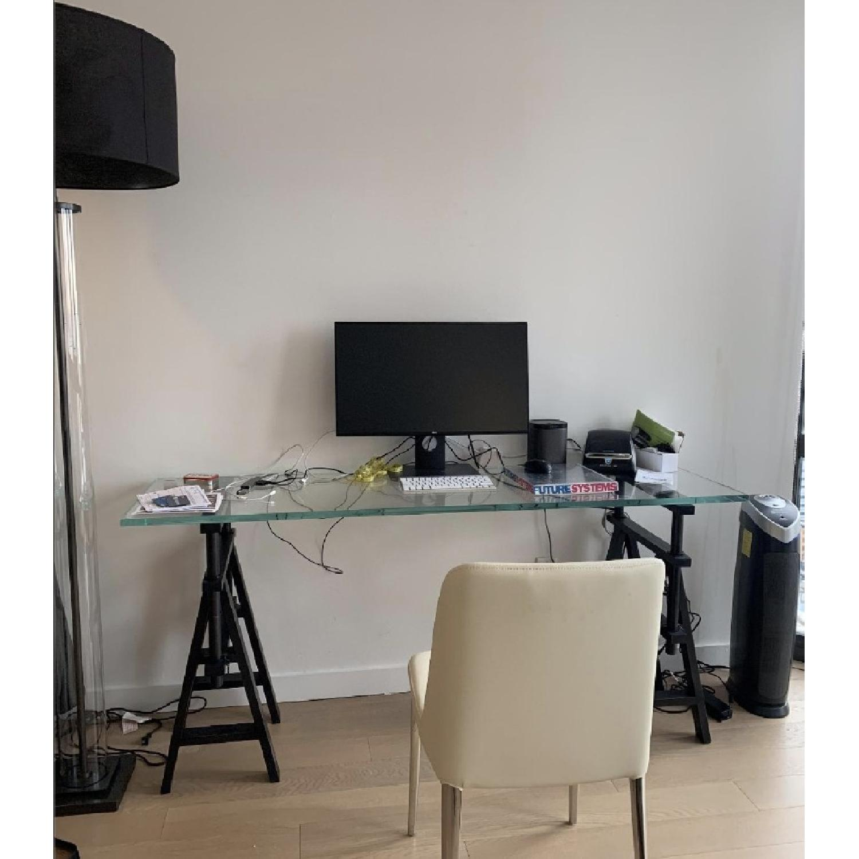 Restoration Hardware Glass Console Table w/ Wood Base - image-1