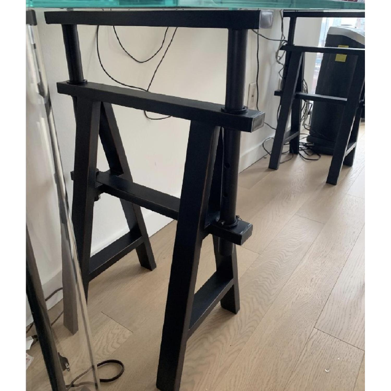 Restoration Hardware Glass Console Table w/ Wood Base - image-2