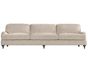 Restoration Hardware Belgian Linen English Roll Arm Sofa