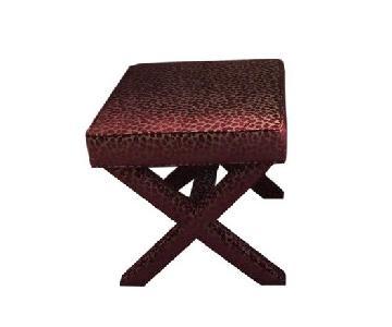 Ballard Designs Custom X- Stools in Red Tupai Velvet