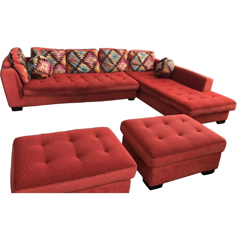 Maurice Villency Sectional Sofa w/ Chaise & 2 Ottomans - AptDeco