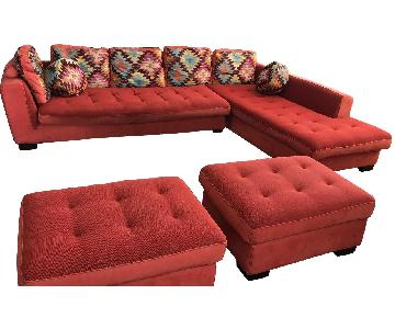 Maurice Villency Sectional Sofa w/ Chaise & 2 Ottomans
