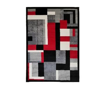 Homedora Modern Geometric Area Rug in Black & Red