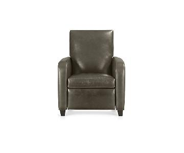 Crate & Barrel Royce Leather Recliner in Libby Storm Finish