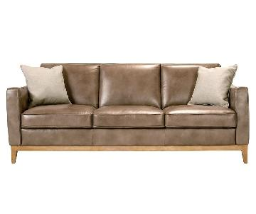 Raymour & Flanigan Berkely Leather Sofa in Latte