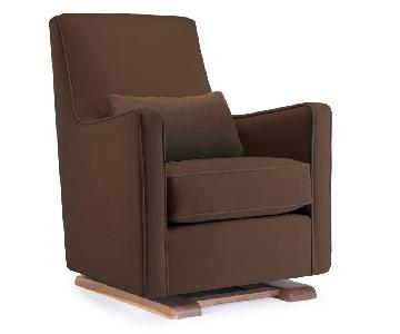 Monte Design Nursery Luca Glider in Dark Brown Microsuede