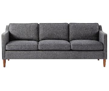 West Elm Hamilton 3 Seater Sofa in Salt and Pepper Tweed