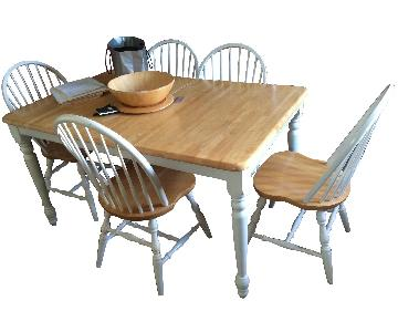Pottery Barn Maple/White Lacquer 7-Piece Dining Set
