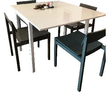 CB2 White Extendable Dining Table w/ 4 Chairs