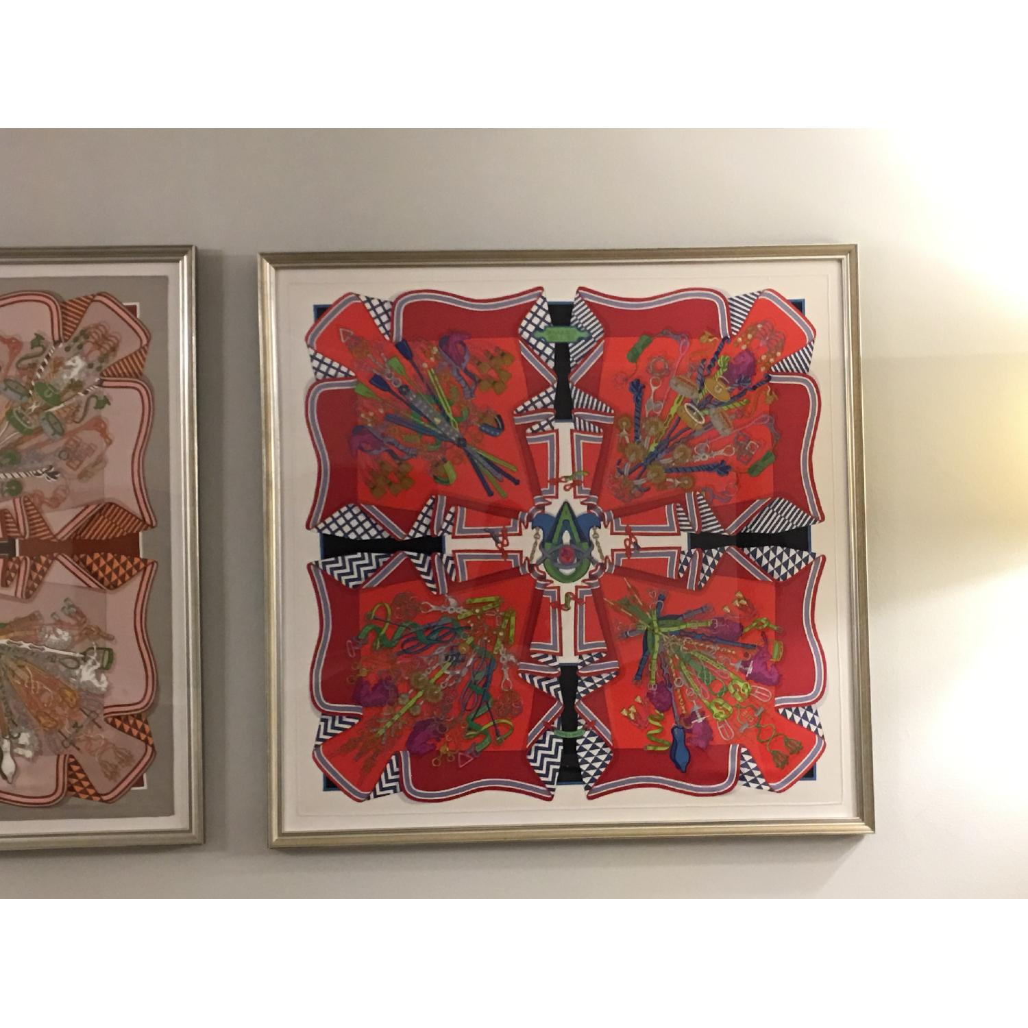 Hermes Framed Scarf Bouquet Sellier in Red - image-1