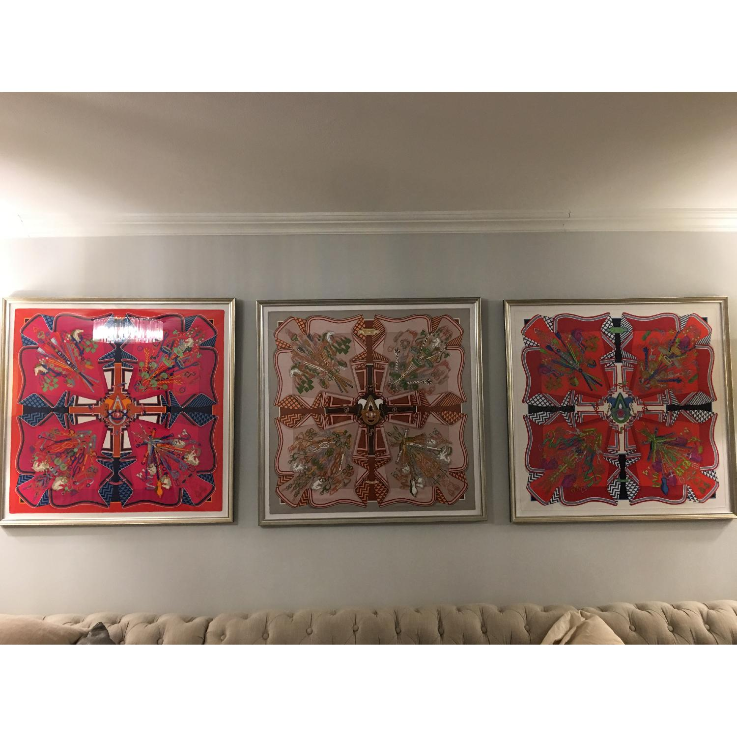 Hermes Framed Scarf Bouquet Sellier in Red - image-2