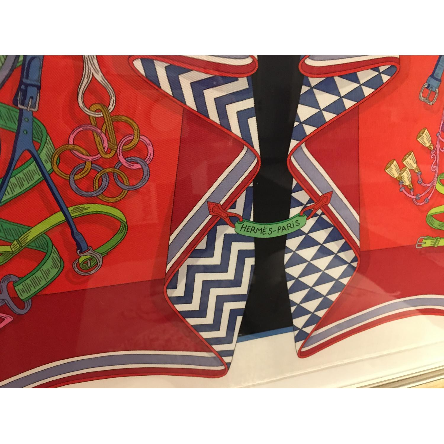 Hermes Framed Scarf Bouquet Sellier in Red - image-3