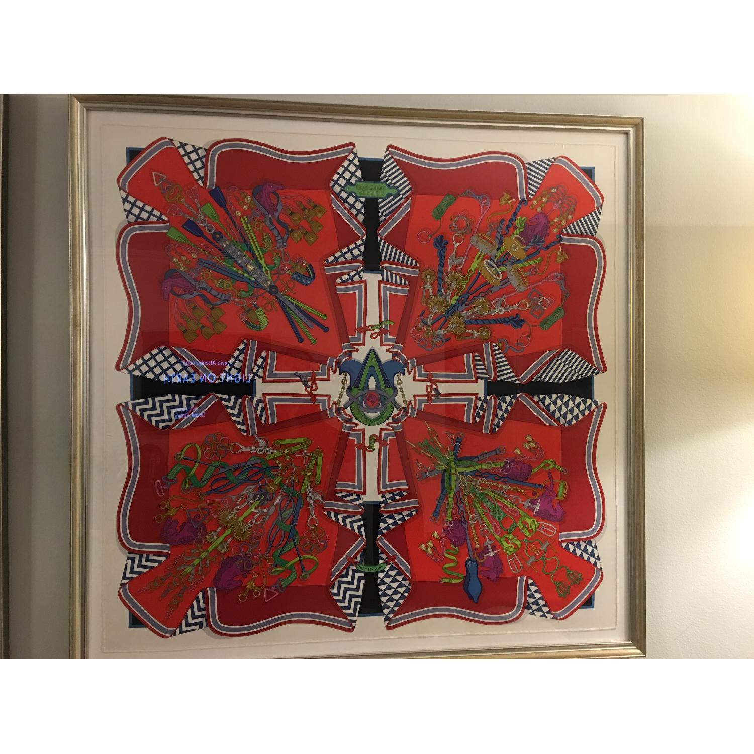 Hermes Framed Scarf Bouquet Sellier in Red - image-4