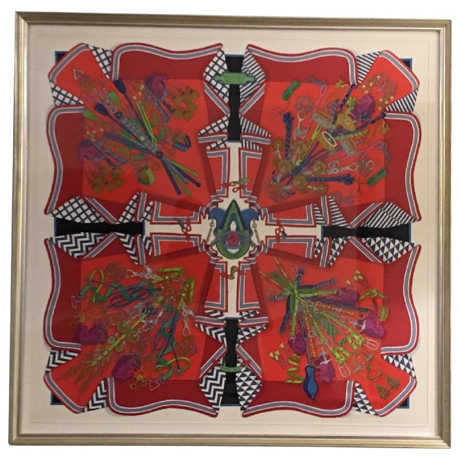 Hermes Framed Scarf Bouquet Sellier in Red - image-0