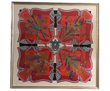 Hermes Framed Scarf Bouquet Sellier in Red