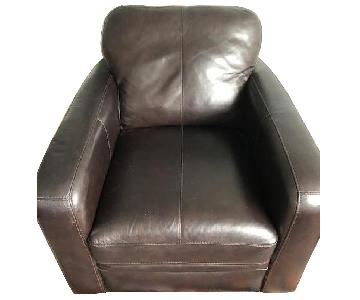 Raymour & Flanigan Trent Brown Leather Accent Chair