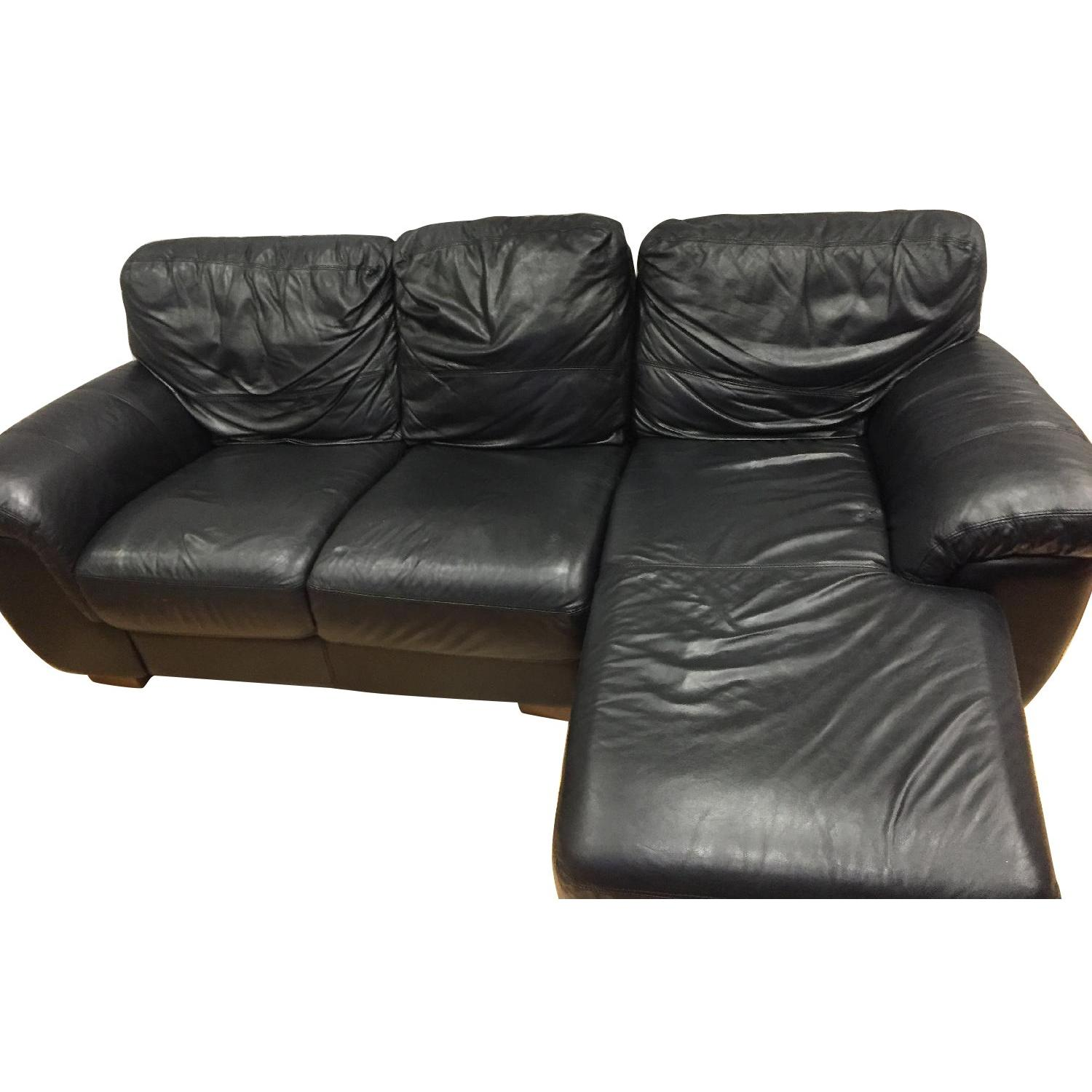 Black Leather 3-Piece Sectional Sofa