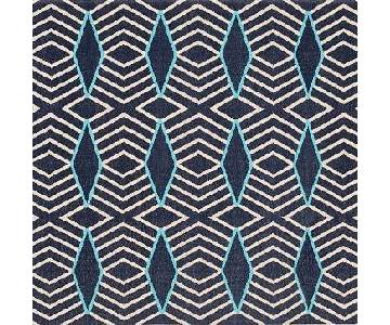 West Elm Blue Diamond Stripe Wool Dhurrie Rug