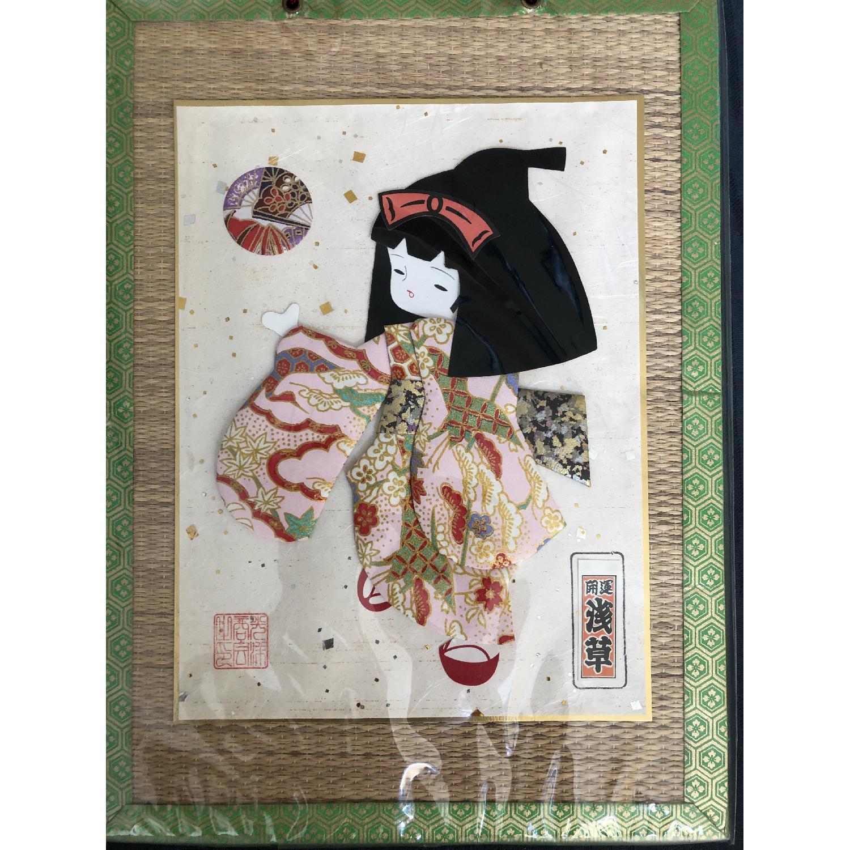 Signed Japanese Geisha Girl Fabric Kimono Washi Paper Doll - image-2