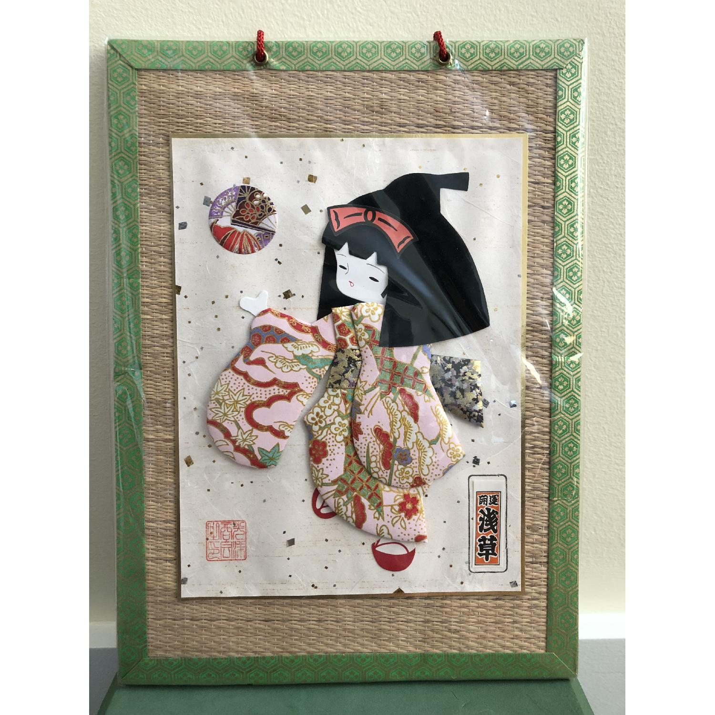 Signed Japanese Geisha Girl Fabric Kimono Washi Paper Doll - image-3