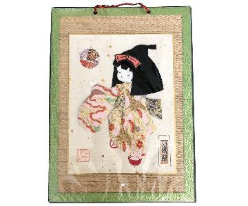 Signed Japanese Geisha Girl Fabric Kimono Washi Paper Doll