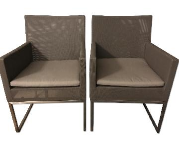 Crate & Barrel Outdoor Dune Synthetic Mesh Chairs w/ Cushion