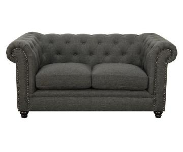 Chesterfield Style Loveseat w/ Down-Feather Cushions in Linen Blend Grey Fabric