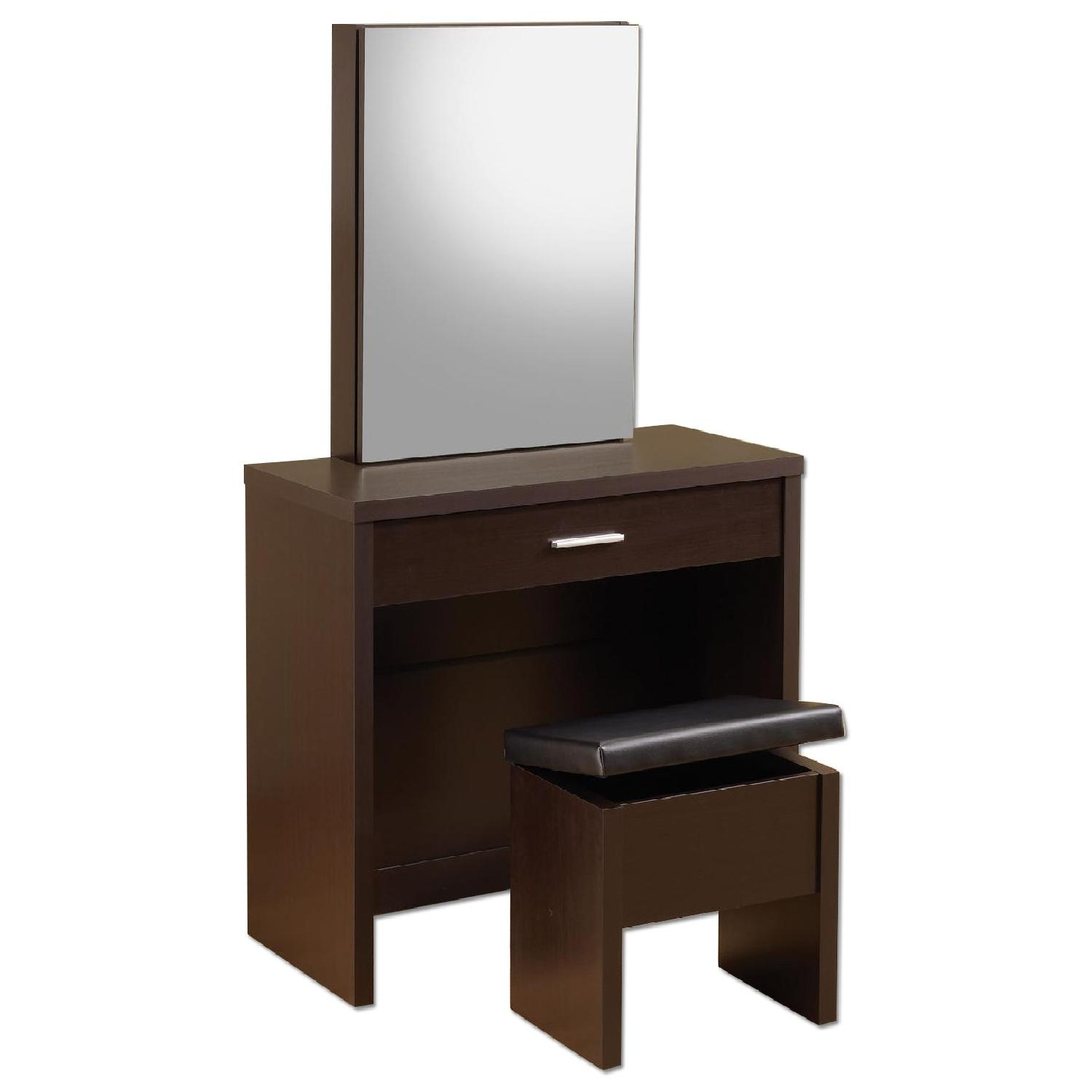 Vanity & Stool w/ Hidden Jewelry Storage Compartment in Cappuccino Finish