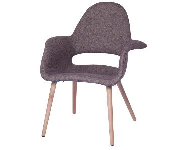Brown Fabric Upholstered Dining Arm Chair w/ Plywood Frame &