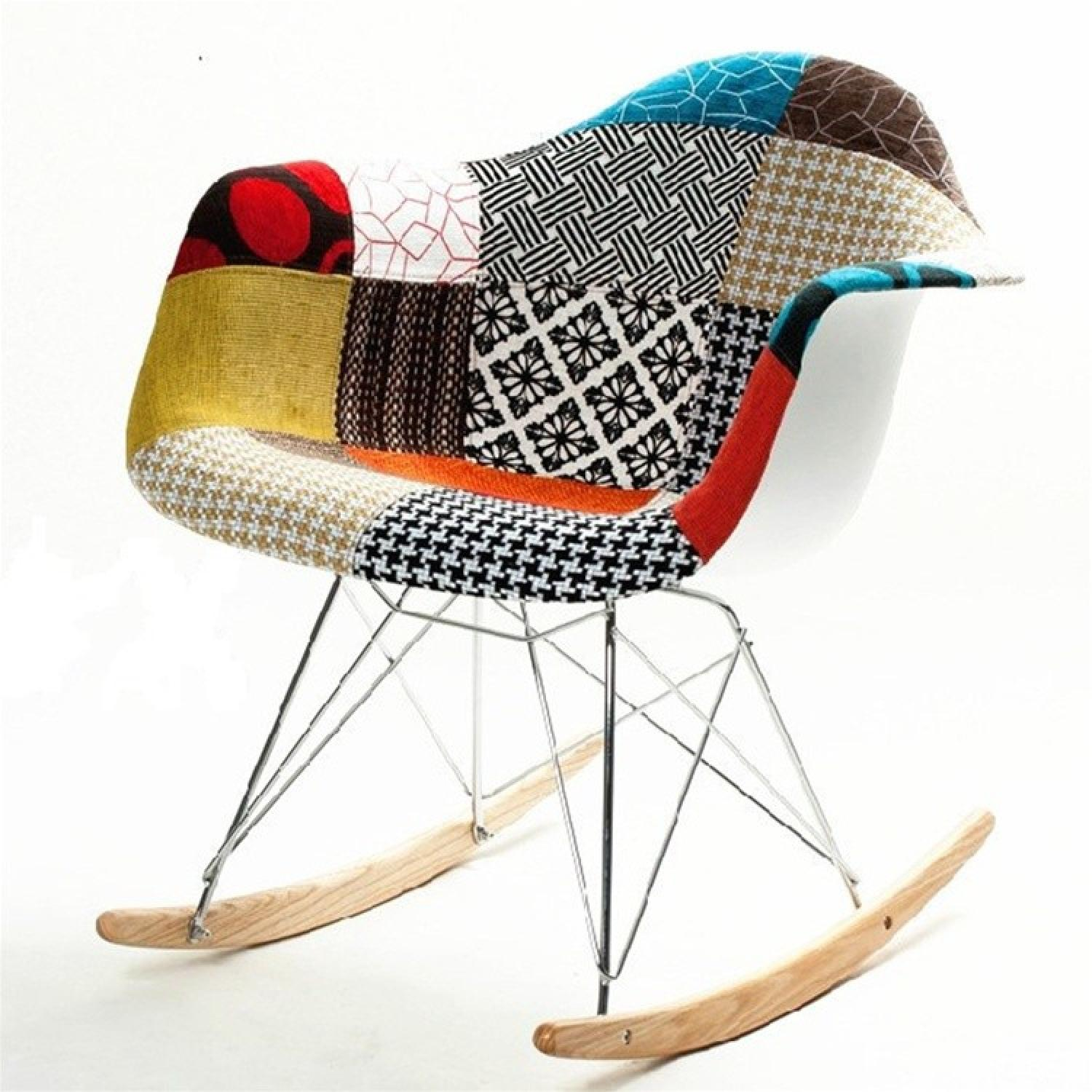 Rocking Chair w/ Colorful Patchwork Fabric in ABS Frame Steel Legs & Ash Wood Runners