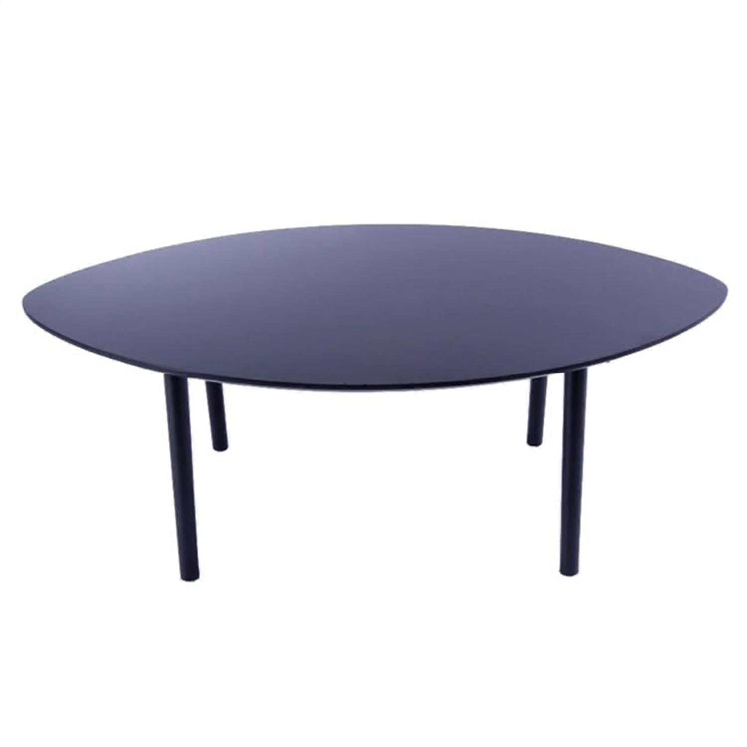 Retro Style Lemon-Shape Coffee Table in Dark Brown Solid Woo