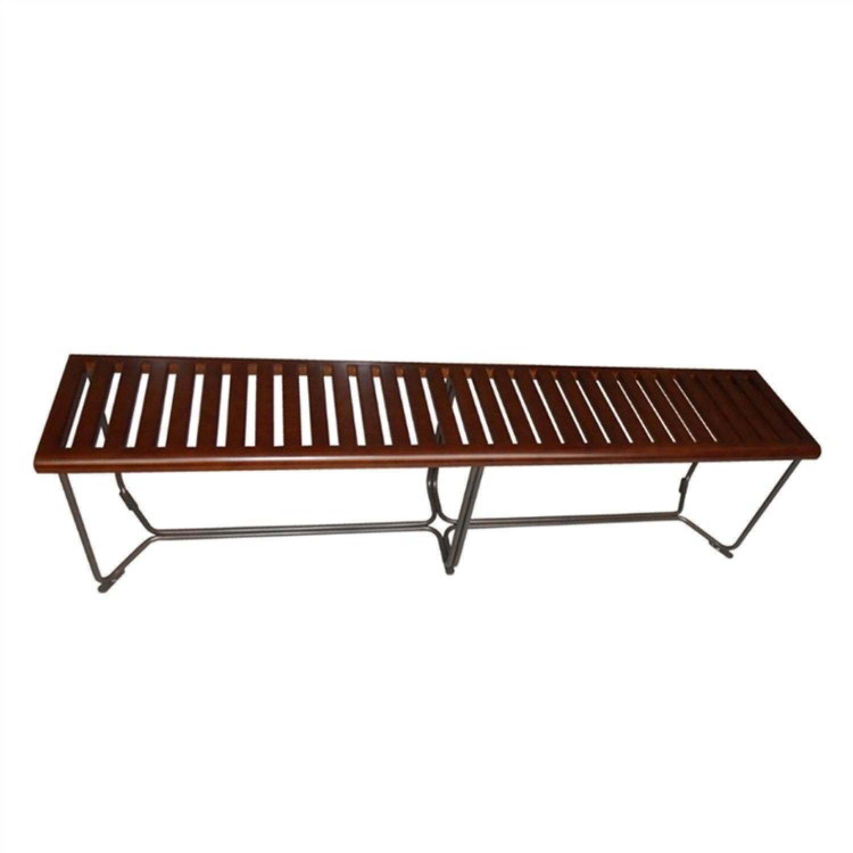 Solid Wood Modern Bench w/ Steel Base