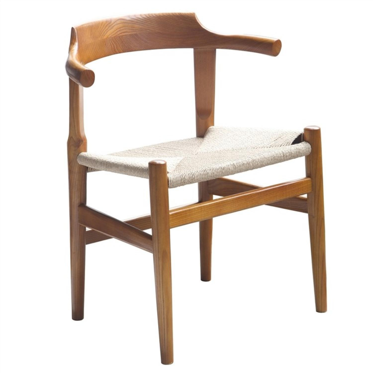 Solid Wood Frame Dining Chair w/ Curved Back & Natural Color