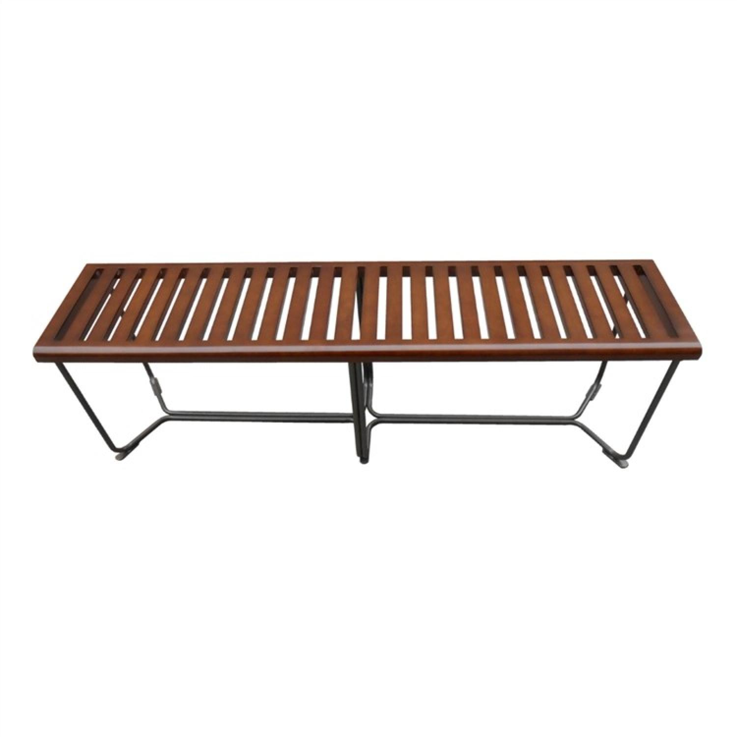 Solid Wood Modern Bench w/ Steel Base