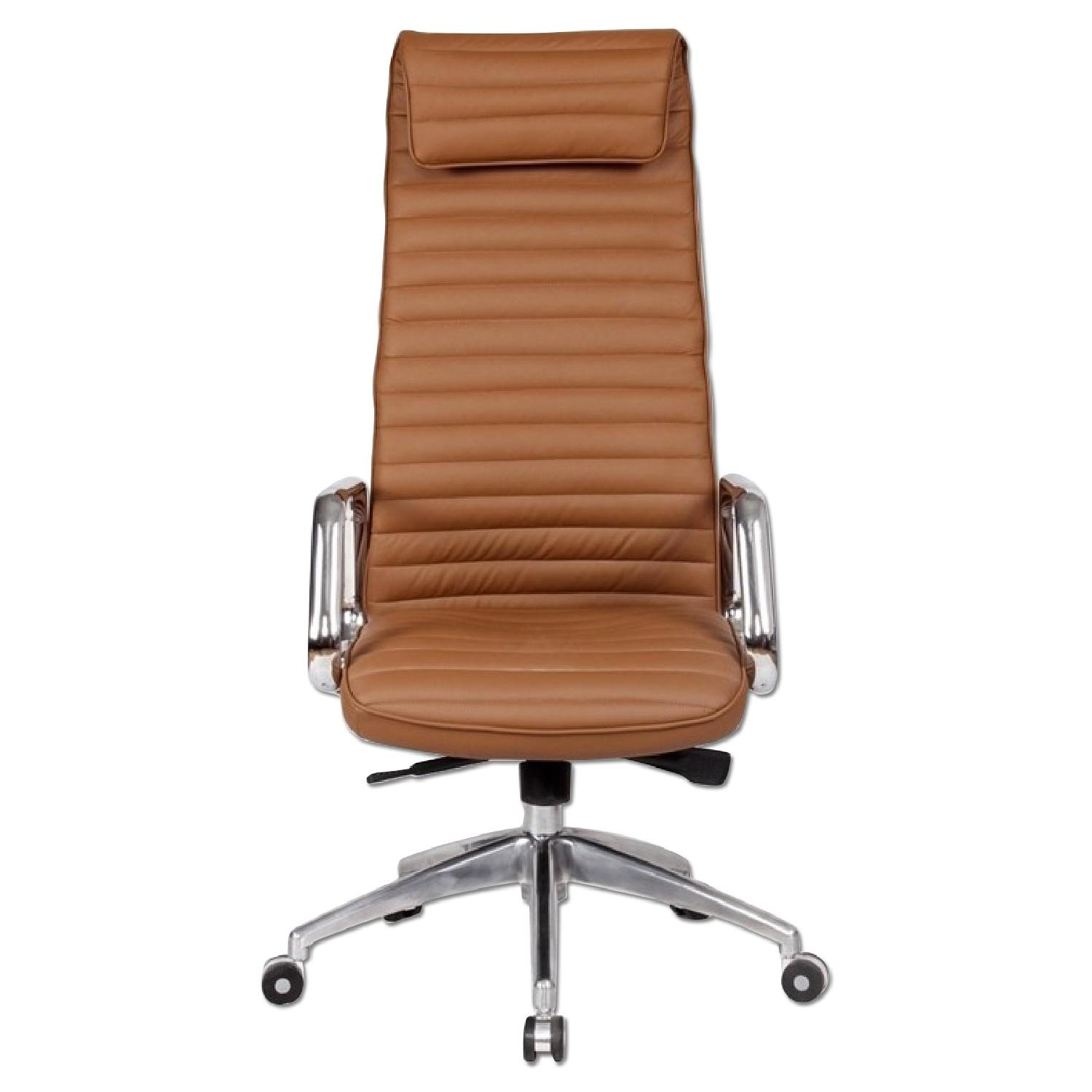 Steel Frame High Back Office Chair W Padded Seat AptDeco