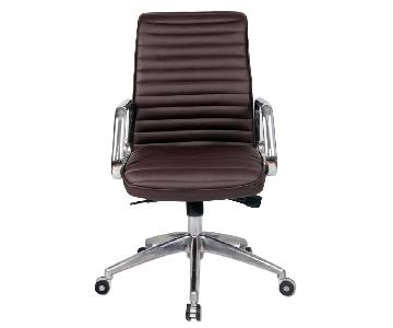 Modern Steel Frame Office Chair w/ Padded Seat & Back Upholstered in Dark Brown Leatherette