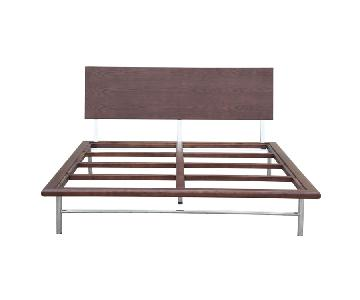 Solid Wood Frame Queen Size Platform Bed in Walnut Finish & Steel Legs