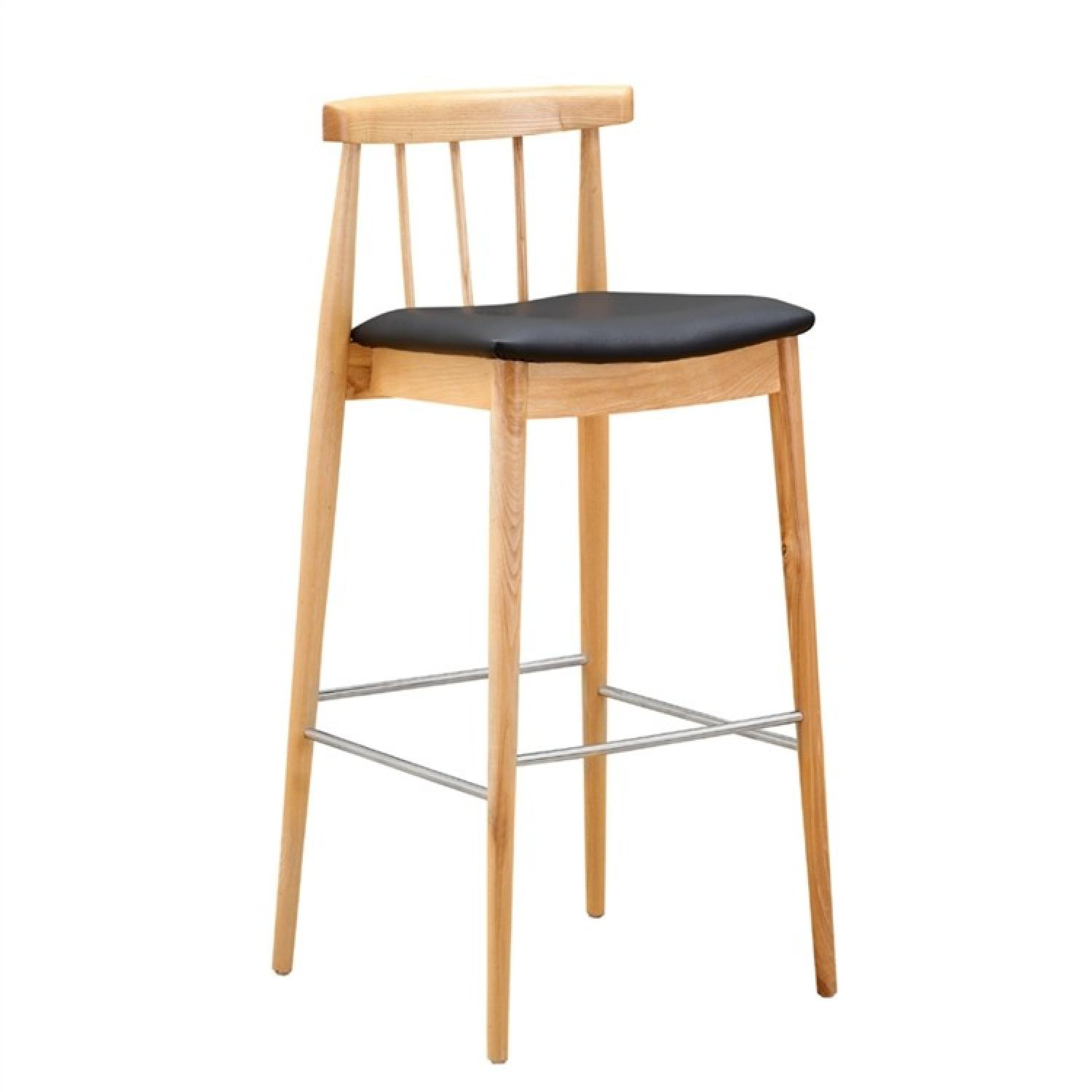 Mid Century Style Bar Stool in Solid Wood w/ Black PU Seat