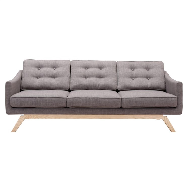Modern Grey Fabric Sofa w/ Tufted Back & Wood Legs