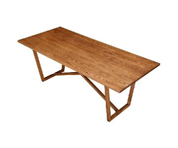 Solid Ash Wood Mid-Century Style Dining Table in Walnut Fini