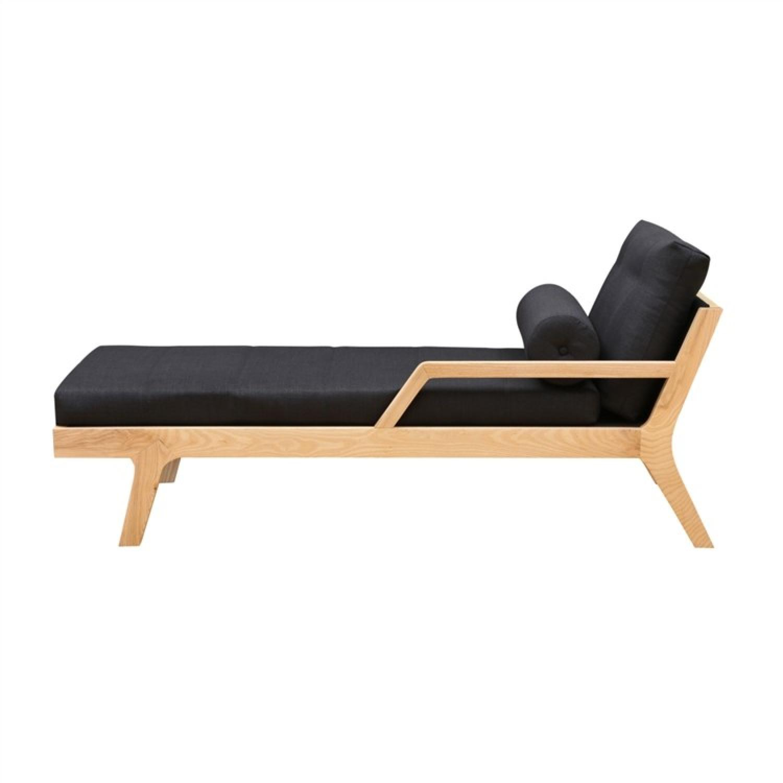 Modern Lounge Chair In Natural Wood Base w/ Black Linen Cush - image-1
