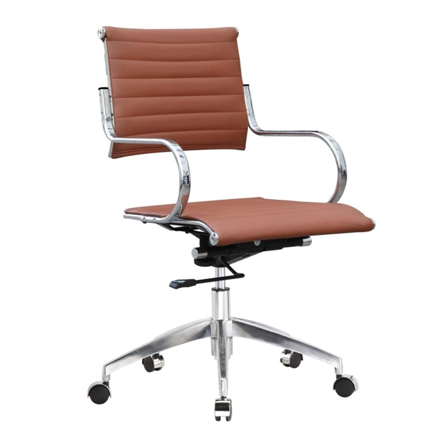 Modern Mid Back Office Chair w/ Stainless Steel Frame & Ligh