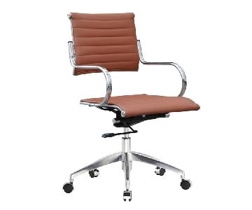 Modern Mid Back Office Chair w/ Stainless Steel Frame & Light Brown Faux Leather