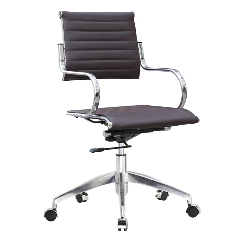 Modern Mid Back Office Chair w/ Stainless Steel Frame & Dark - image-0