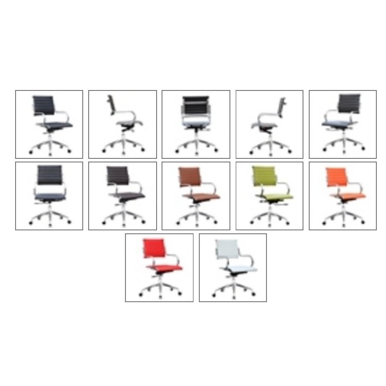 Modern Mid Back Office Chair w/ Stainless Steel Frame & Dark - image-1